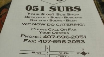 Photo of American Restaurant 051 Subs at 895 W State Road 434, Winter Springs, FL 32708, United States