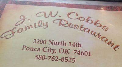 Photo of American Restaurant J.W. Cobb at 3200 N 14th St, Ponca City, OK 74601, United States