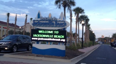Photo of Beach Welcome To Jacksonville Beach Sign at Jacksonville Beach, FL, United States
