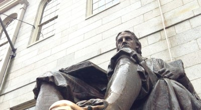 Photo of Outdoor Sculpture John Harvard Statue at Harvard Yard, Cambridge, MA 02138, United States