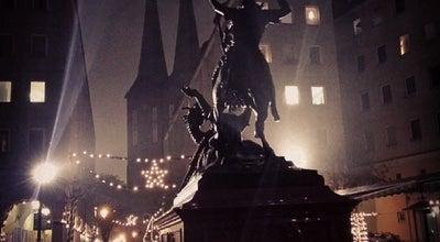 """Photo of Outdoor Sculpture Bronzestatue """"Heiliger St. Georg im Kampf mit dem Drachen"""" at Probststr., Berlin 10178, Germany"""