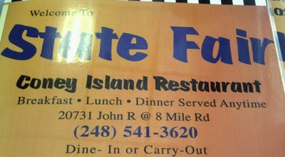 Photo of American Restaurant State Fair Coney Island at 20731 John R Rd, Hazel Park, MI 48030, United States
