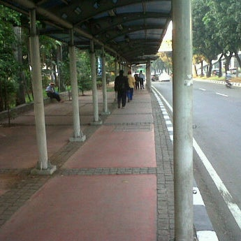 Photo taken at Halte Bus Dukuh Atas by okkylh n. on 4/15/2012