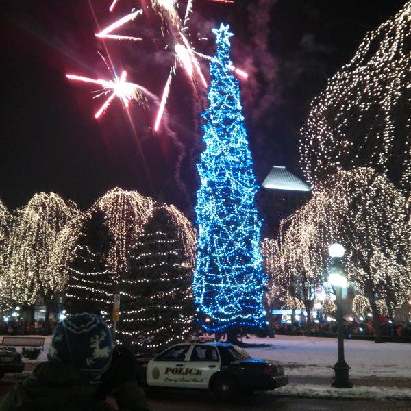 Christmas tree lights are on
