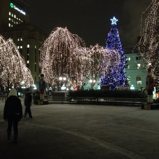 Photo taken at Rice Park by Andrew L. on 12/8/2012