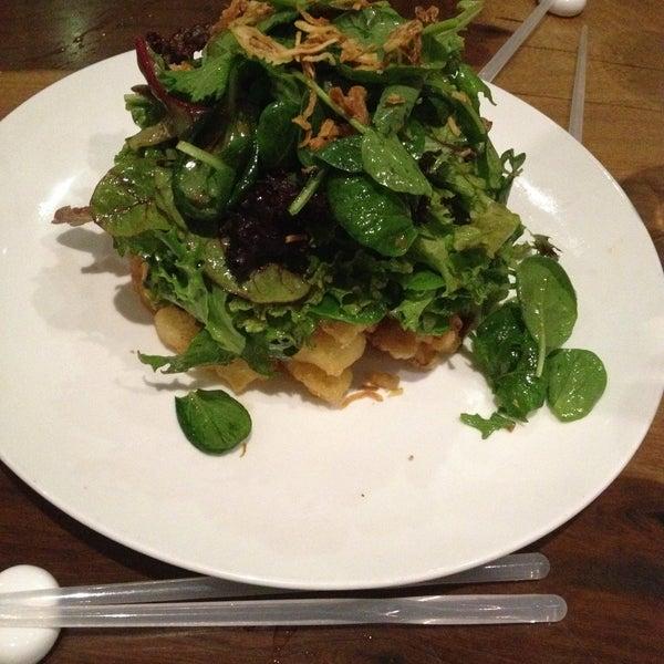 Tempura calamari with with fresh greens makes one great salad.