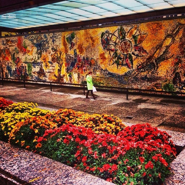 "Photo taken at Chagall Mosaic, ""The Four Seasons"" by Meagan B. on 10/31/2013"