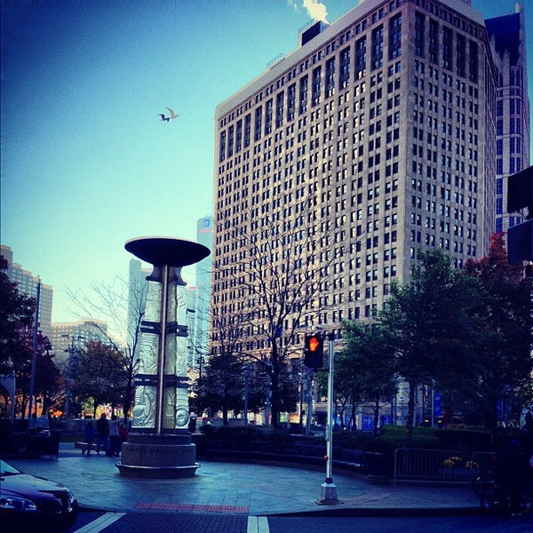 Photo taken at Campus Martius Park by Jay D. on 10/21/2012