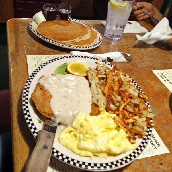 Chicken fried steak.. And pancakes!!!