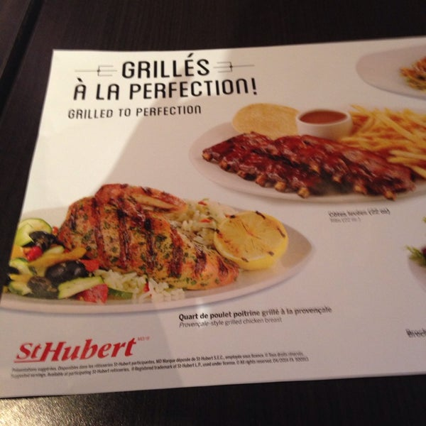 R tisserie st hubert restaurant in montr al for Menu st hubert salle a manger