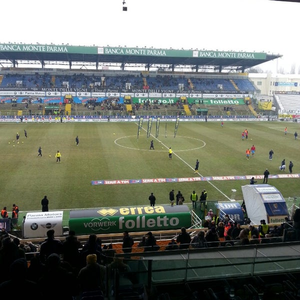 Photo taken at Stadio Ennio Tardini by Giorgia F. on 2/24/2013