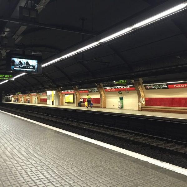 Photo taken at METRO Plaça de Sants by Shigeharu S. on 5/27/2015