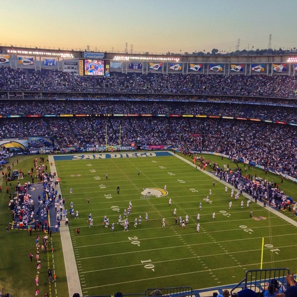 Photo taken at Qualcomm Stadium by Rahshan H. on 10/15/2013