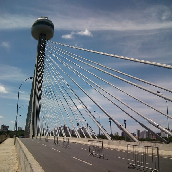 Photo taken at Ponte Estaiada by Caio J. on 5/12/2013
