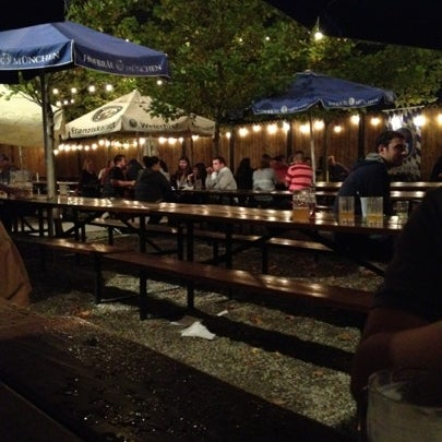 Photo taken at Zeppelin Hall Biergarten by Kevin K. on 7/21/2012