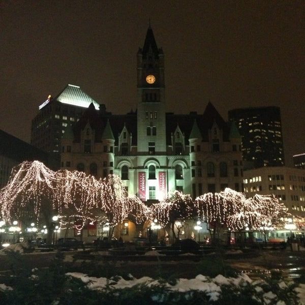 Photo taken at Rice Park by Stasia P. on 12/18/2012