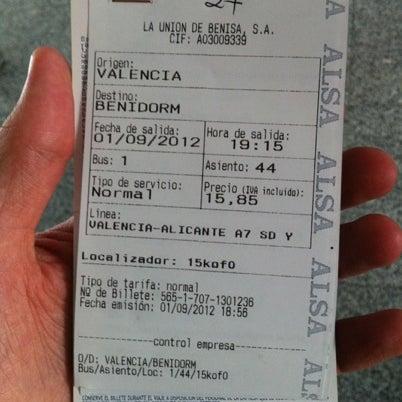 Photo taken at Estación de Autobuses de Valencia by Murat P. on 9/1/2012