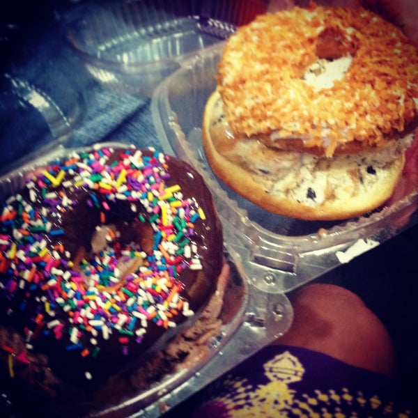 Donuts cut and filled with your choice of ice cream flavors. Then iced with toppings!
