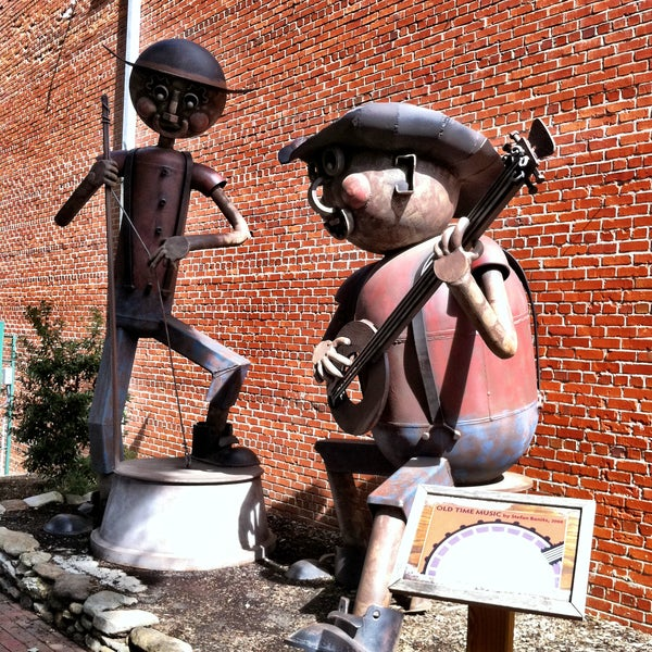 """Look for the """"Old Time Music"""" art installation. It's made of recycled materials and celebrates Waynesville's history of street performers and music festivals."""