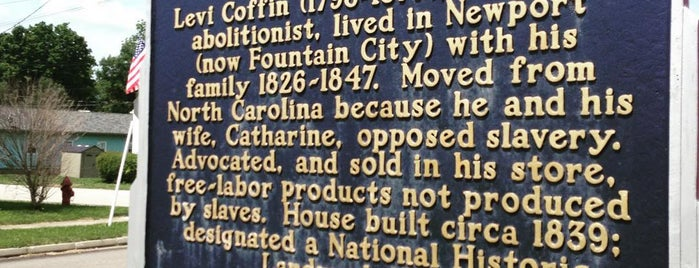 Levi Coffin State Historic Site is one of Indiana's National Historic Landmarks.
