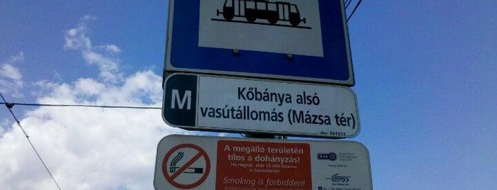 Kőbánya alsó vasútállomás (Mázsa tér) (3, 62, 62A) is one of Pesti villamosmegállók.
