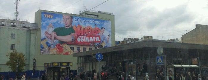 Метро «Василеостровская» (metro Vasileostrovskaya) is one of Метро Санкт-Петербурга.